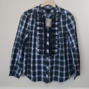 NWT J Crew Green Plaid Beaded Top Blouse Size XS